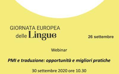 """Webinar """"PMI E TRADUZIONE: OPPORTUNITÀ E MIGLIORI PRATICHE"""""""